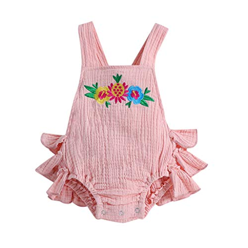 Kids Clothes Kids Dresses 6M-24M Baby Sleeveless lace Flower Bow Pleated Hip Romper Jumpsuit Pink