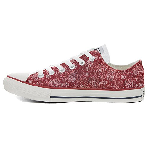 Converse All Star Slim Customized personalisierte Schuhe (Handwerk Schuhe) Red Paisley