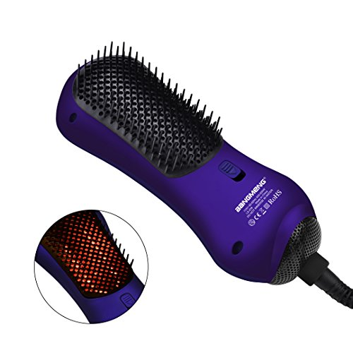 BANGMENG Mini One Step Blow Dryer & Styler Hot Air Paddle Brush With Infrared | Negative Ion Generator Hair Straightener For All Hair Types | Eliminate Frizzing, Tangled Hair & Knots by BANGMENG