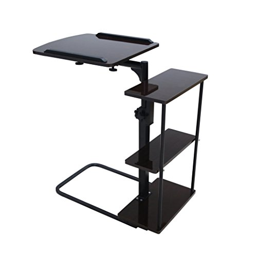 Unicoo - Multi-Function Height Adjustable Overbed Table, Sofa table, Laptop Cart (Black (Adjustable Side Shelf)