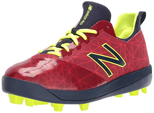 New Balance Boys' Furon V1 Molded Soccer Shoe, red/Navy, 13