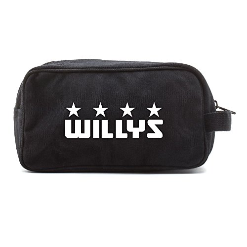 - Willys Jeep Freedom Stars Military Canvas Shower Kit Travel Toiletry Bag Case in Black & White