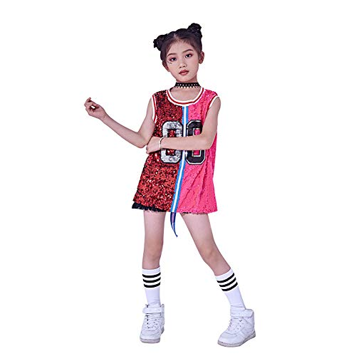 94ef488f4997 LOLANTA Girls Sequins Costume Hip Hop Jazz Dancewear Sparkle Sleeveless  Tank Top Dress