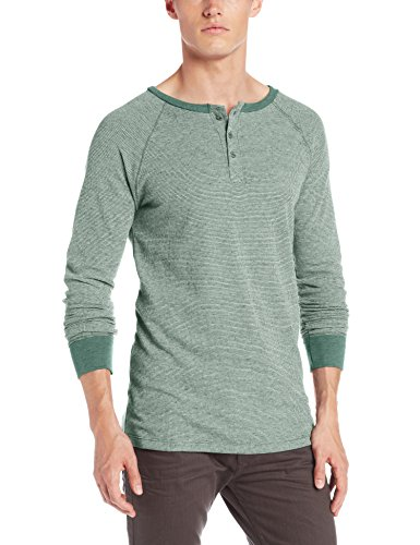 Threads 4 Thought Men's Flex Thermal Long Sleeve Henley, Evergreen, Medium (Evergreen Polyester Thread)