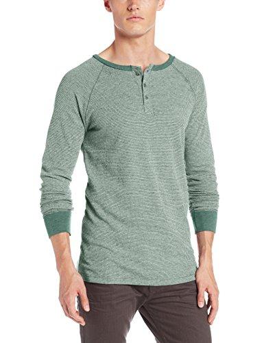 Threads 4 Thought Men's Flex Thermal Long Sleeve Henley, Evergreen, Medium (Evergreen Polyester Thread)