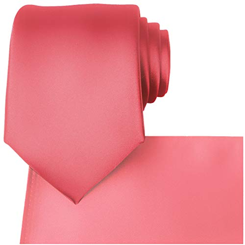 KissTies Coral Tie Set Mens Necktie + Pocket Square + Gift Box ()