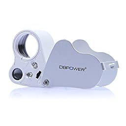 DBPOWER Illuminated Jeweler\'s Eye Loupe 30x & 60x Magnifier Magnifying with LED Lighting, Unique 2 Lens Design