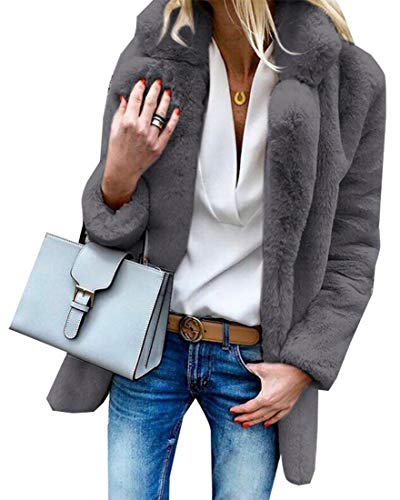 Fur Collars Grey EKU Color Faux Coat Sleeve Long Solid with Length Mid Women's Dark Notch ww6I7