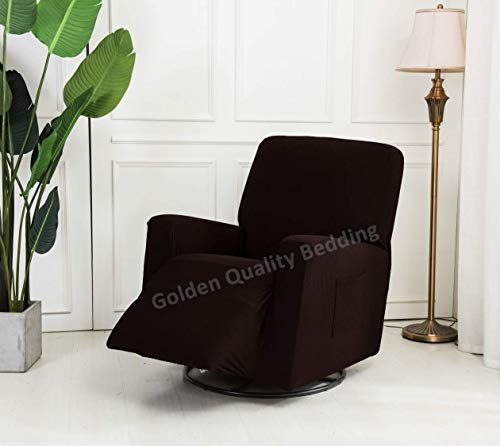 Stretch To Fit One Piece Lazy Boy Chair Recliner Slipcover, Stretch Fit Furniture Chair Recliner Cover With 3 Foam Pieces to Hid Extra Fabric, 4 ELASTIC STRAPS for Cover Stability (Chocolate/ Brown) (Piece One Stretch)