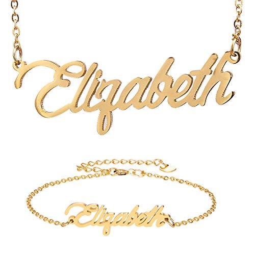 HUAN XUN Name Necklace &Bracelet Initial Set Elizabeth Name in Golden - New Name Necklace