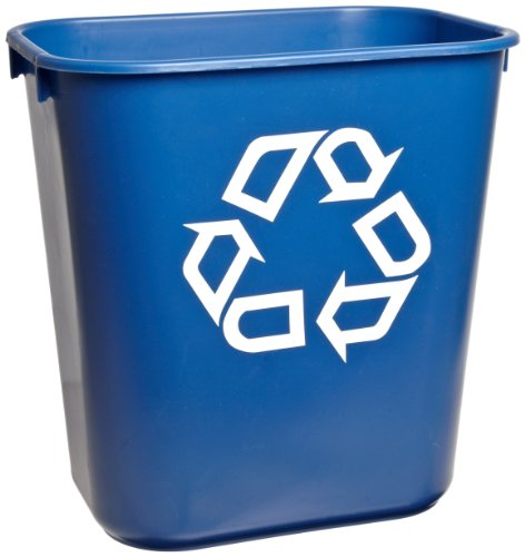 Rubbermaid Commercial 295573BE Blue 13.625-Quart Small Deskside Recycling Container (Recycling Wastebasket)