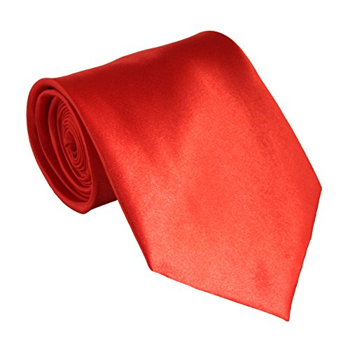 Red Mens Necktie - Soophen NEW Mens Necktie SOLID Satin Neck Tie Orange Red