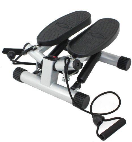 Sunny Health & Fitness Twisting Stair Stepper with Band, Silver ()