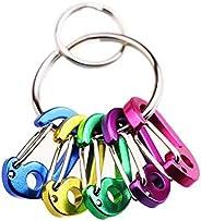 7PCS Keychain Keyring Clips Mini Carabiner - 2 cm Micro Tiny Small Fixed Eye Hole Paracord Aluminum Hooks for