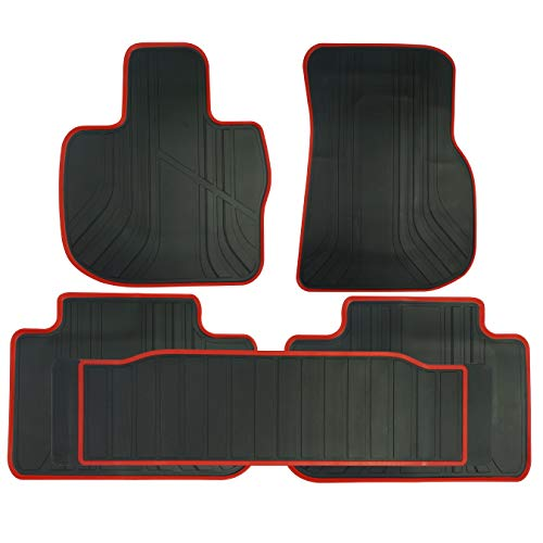 biosp Car Floor Mats for BMW X3 G01 2018-2019, X4 G02 2018-2019 Front And Rear Heavy Duty Rubber Liner Set Black Red Vehicle Carpet Custom Fit-All Weather Guard Odorless