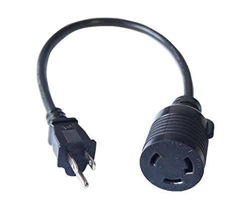 (HITBOX Adapter Cord 1.5-Feet 14 AWG Power Extension Cord L6-30R Cable Connector Convert 110V to 220V 30A 3 Prong twist lock in plug)