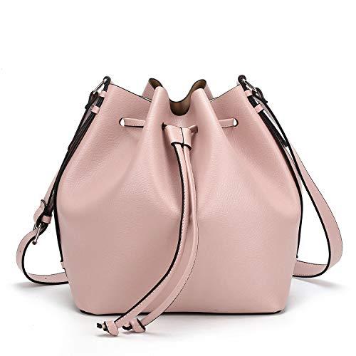 Pink Bucket Bag - Drawstring Bucket Bag for Women Large Crossbody Purse and Shoulder Bag Suede Tote Handbags