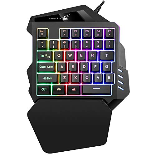 FELICON One Handed Mechanical Feel Gaming Keyboard Rainbow Backlight 5 Multimedia Function Key Portable Mini Single Gamer Keypad with Wrist Rest for Computer/PC/Desktop/Laptop …