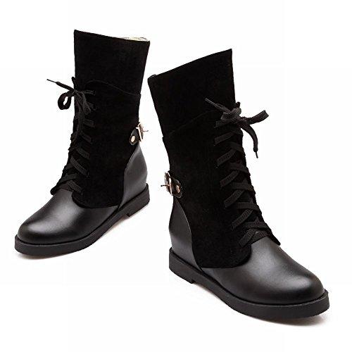 Latasa Womens Fashion Retro Lace-up Chunky Mid-heel Platform High-top Paddock Boots Nero