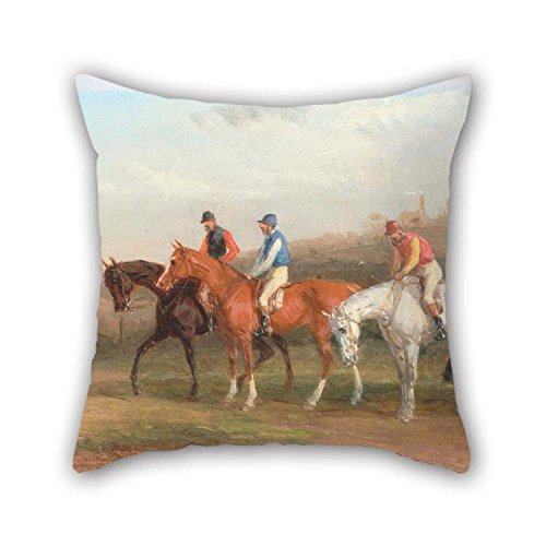 TonyLegner 18 X 18 Inches / 45 by 45 cm Oil Painting William J. Shayer - Steeplechasing- at The Start Pillow Shams Two Sides Ornament and Gift to Shop Kids Boys Bench Wedding Office Kids Boys