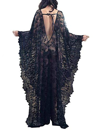 Bikini Cover up Robe Women Boho Beach Wears Eyelash Lace Soft Thin Oversized Bikini Kimono (one size, - Sheer Lace Gown