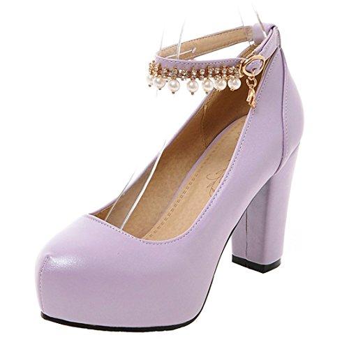 AIYOUMEI Damen Blockabsatz High Heels Pumps mit Riemchen und Perlen Modern Schuhe Lila