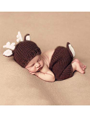 Aukmla Newborn Boy Girls Crochet Knitted Baby Outfits Costume Set Photography Photo Prop Baby Shower (Brown Deer) -