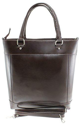Made Foncé 100 classique Marron avec véritable sac cuir à poignées sac 34x36x10cm in femme Italy CTM main 7WqSwaP74