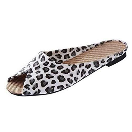 JOYBI Women Casual Flats Slides Sandals Slip On PU Leather Comfort Summer Ladies Peep Toe Low Heel Mules