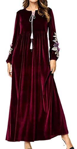 YIhujiuben Women's Long-Sleeved Velour Floral Embroidery Saudi A-Line Abaya Casual KaftanCaftan Maxi Dress Wine Red -