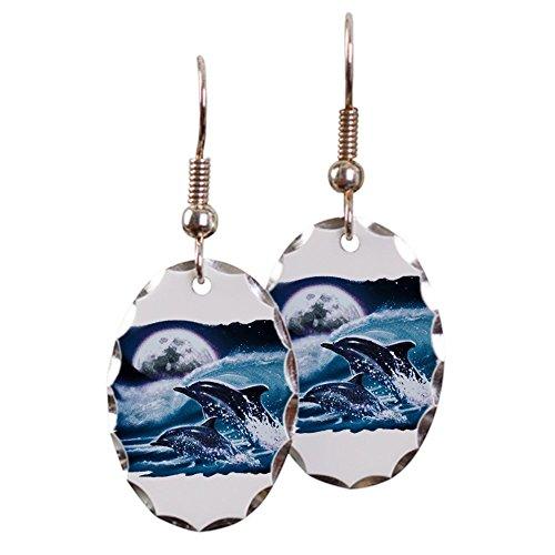 - Earring Oval Charm Moon Dolphins Ocean Life