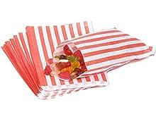 The Paper Bag Company - Bolsas de papel (100 unidades), diseño de rayas, color rojo