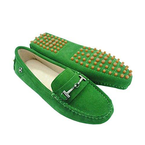 Cuir Sur Daim Conduite De Filles Glissement Confortable Mocassins Vert Chaussures En Les Minitoo Dames Mocassin wBqng4aqTv