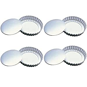 Fox Run 4590 Tartlet/Quiche Pan with Removable Bottom, Tin-Plated Steel, 4-Inch, Set of 4