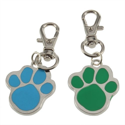 TOOGOO(R) Cute Stainless Steel Foot Print Engraved Puppy Pet Dog Cat ID Name Tags