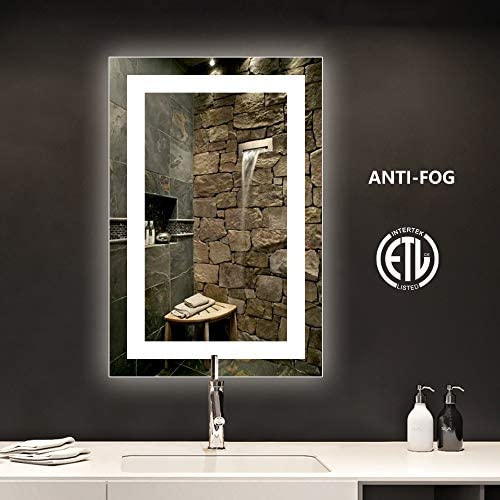 smartrun LED Bathroom Vanity Mirror with Anti-Fog Function, Bright White Light, CRI 90 , Backlit Mirror for Home Decoration No Touch Button , 24x36inch