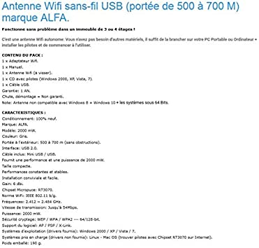 Antenne WiFi Sans-Fil USB (portée de 500 à 700 M) ALFA ...