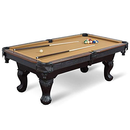 EastPoint Sports Masterton Billiard Pool Table, 87-inch – Features Traditional Claw Legs and Parlor Style Drop Pockets – Includes 2 Cues, Billiards Balls, and Triangle