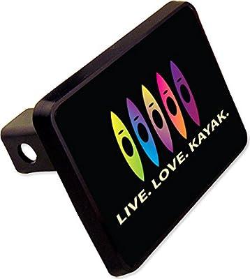 LIVE LOVE KAYAK Trailer Hitch Cover Plug Funny Novelty