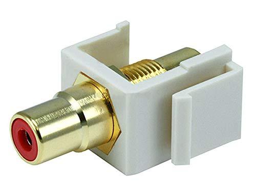 Monoprice Modular RCA Coupler Keystone Jack - Ivory with Red Center