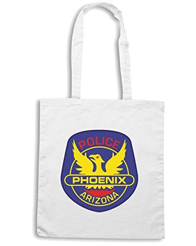 T-Shirtshock - Bolsa para la compra TM0113 Phoenix Police Department citta Blanco