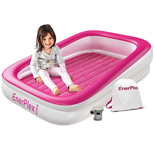 EnerPlex Kids Inflatable Toddler Travel Bed, Portable Air Mattress for Kids, Blow up Mattress with Sides - Built-in Safety Bumper - Pink 2-Year Warranty