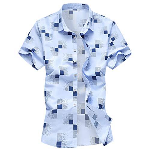 YOCheerful Men's Summer Tops Shirts Casual Short Sleeve Beach Tops Loose Casual Blouses(Blue, 6XL) ()
