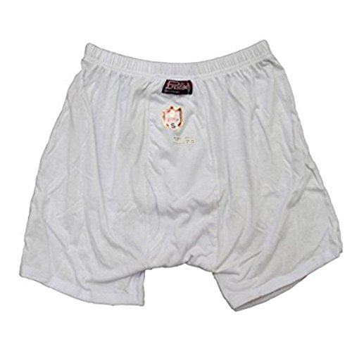 100% Egyptian Cotton Mens Men Underwear Half Short Boxer Briefs White Brief (L) (Egyptian Cotton Boxers)