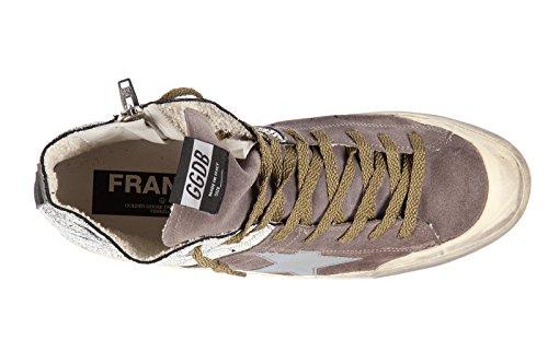 Golden Goose chaussures baskets sneakers hautes homme en cuir francy bicolor mar