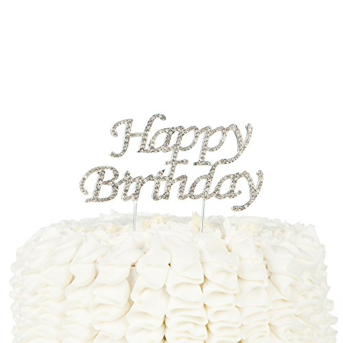 Ella Celebration Happy Birthday Cake Topper Party Supplies Decoration Ideas Silver Rhinestone (Silver)