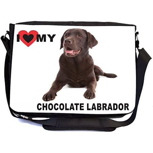 Rikki Knight I Love My Chocolate Labrador Dog Design Multifunctional Messenger Bag - School Bag - Laptop Bag - with padded insert for School or Work - Includes Matching Compact Mirror