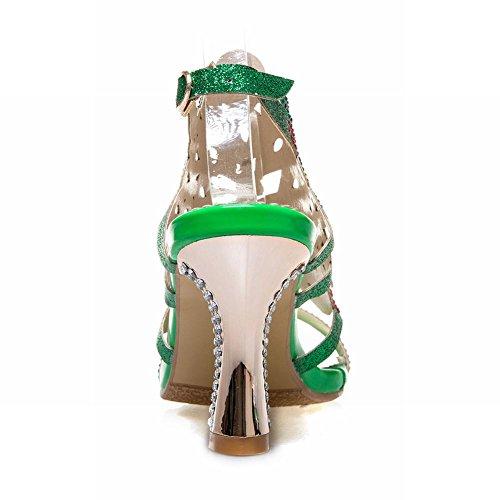 Sandali Con Tacco E Fibbia Con Paillettes Verde Scuro