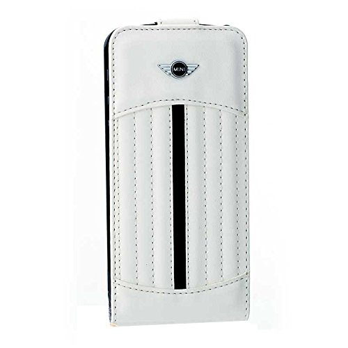 BigBen MINI - Leder Flapcase Stripes für Apple iPhone 5/5S, weiß - MI312988