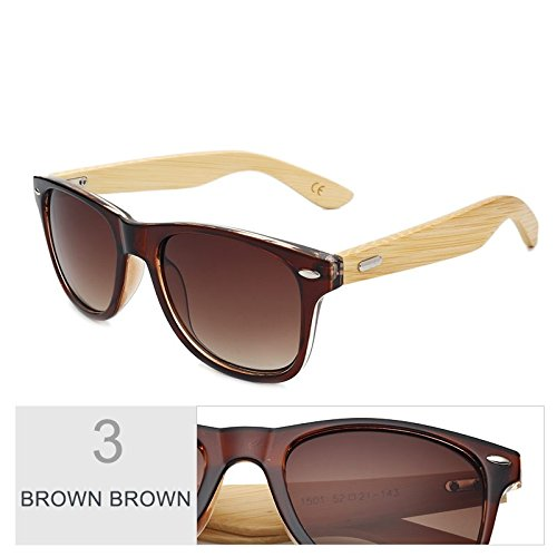 de Gafas el espejo de bambú mujer gafas por real de madera Brown de Multi de color Sunglasses marrón TL sol hombre sol Brown Yvq5xx